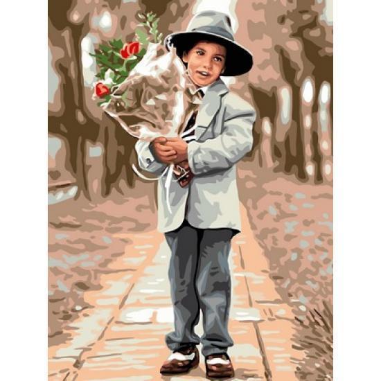 Картина рисование по номерам Babylon Молодой джентльмен 30х40см VK195 набор для росписи, краски, кисти, холст