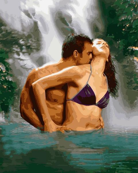 Картина рисование по номерам Mariposa Пара под водопадом 40х50см Q2217 набор для росписи, краски, кисти, холст