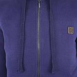 Толстовка мужская трехнитка теплая c капюшоном синяя на молнии с карманами р.46-54, фото 5