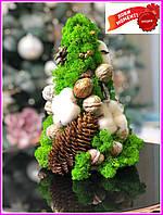 Декоративная Елка с шишками из стабилизированного мха. Декор для дома офиса Оригинальный корпоративный подарок