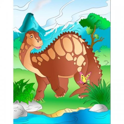 Картина раскраска на холсте Добрий динозавр 25х30см Идейка 7139/2 набор для росписи, краски, кисти, холст