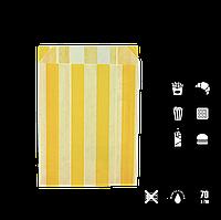 """Пакет бумажный """"Желтые полоски"""" жиростойкий  170х120х50мм (ВхШхГ) белый,  70г/м² 100шт (253), фото 1"""