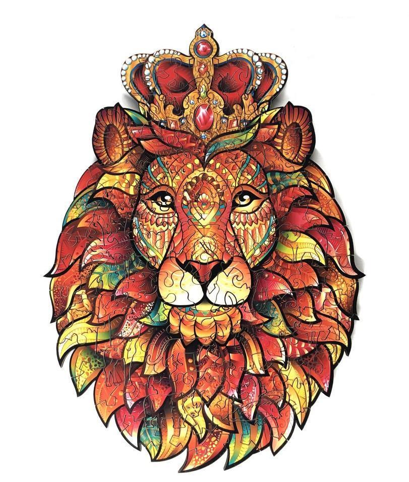 Деревянные пазлы Лесное королевство Король лев 28.5х33 см 356 деталей Деревянный пазл Forest Kindom Храбрый