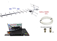 Комплект для просмотра Т2: цифровой тюнер Т2 World Vision T62D3 + антенна Т2 DVB 17_KA(1.2m до 65 км)+ кабель