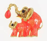 """Брошка """"Два слона з прокраскою помаранчевої емаллю і кристалом"""""""