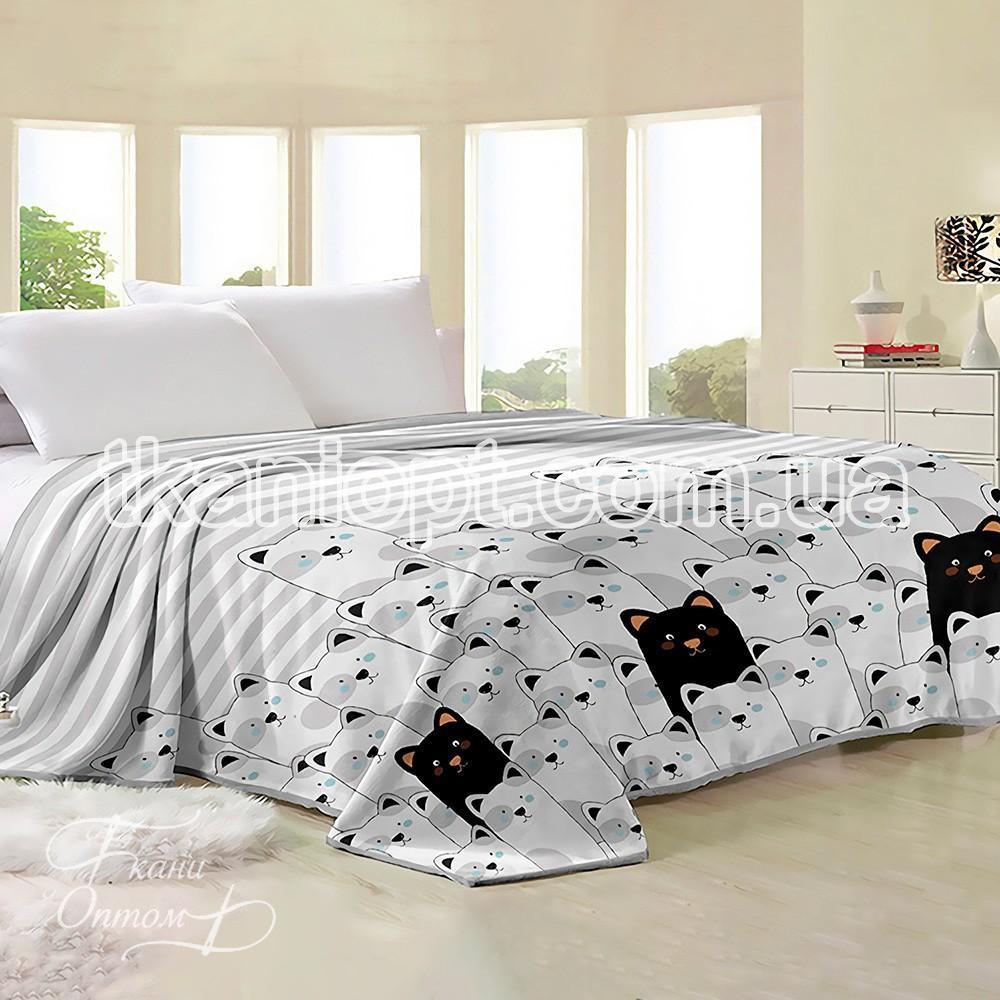 Ткань Флис велсофт собачки (белый-черный)