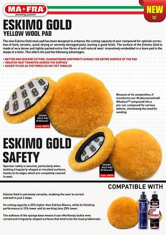 Меховый полировальный круг Eskimo Gold 150 мм для роторных полировальных машин, фото 2