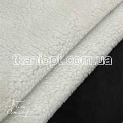 Ткань Дубляж на белом меху (черный)