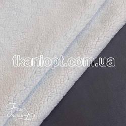 Ткань Дубляж на белом меху (серый)