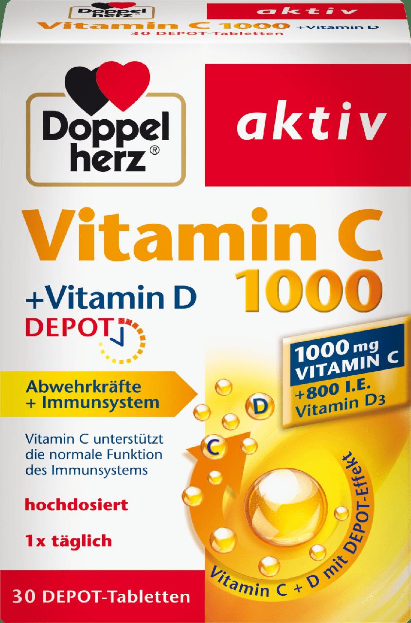 Биологически активная добавка Doppelherz aktiv Vitamin C 100 mg + Vitamin D3, 30 шт.