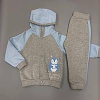 """Теплий костюм (штанці та кофта) із футера для хлопчиків Smil """"Полярна зірка"""" Світло-сірий 86см"""