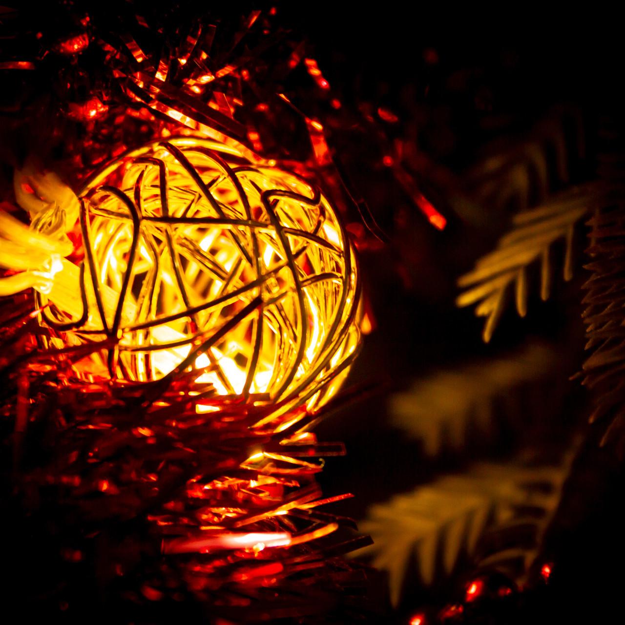 """Декоративная гирлянда для интерьера (Xmas Golden Ball WW-1, 2м, 10 LED, желтая) """"проволочные шарики"""""""