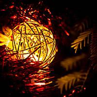 """Декоративная гирлянда для интерьера (Xmas Golden Ball WW-1, 2м, 10 LED, желтая) """"проволочные шарики"""", фото 1"""