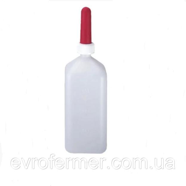 Бутылочка 2 л с резиновой соской для телят