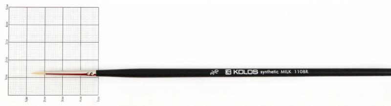 Пензлик художній синтетика круглий №000 Kolos Milk довга ручка