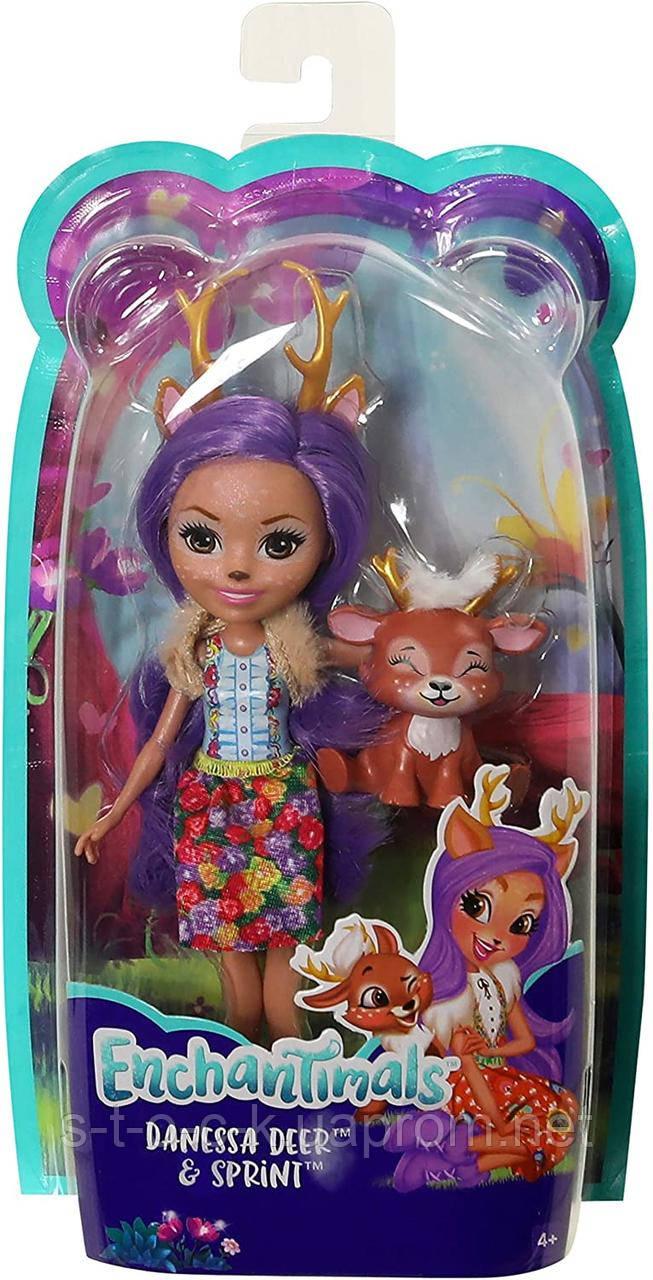 Кукла с питомцем Enchantimals FXM75 Кукла Данесса Оления, 15 см