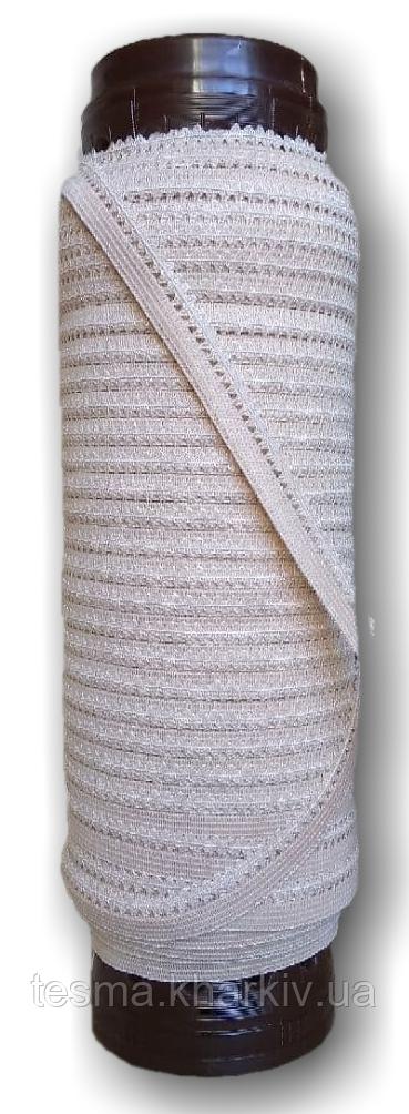 Резинка бельевая ажурная бежевый, резинка для трусов 10 мм намотка 50 метров