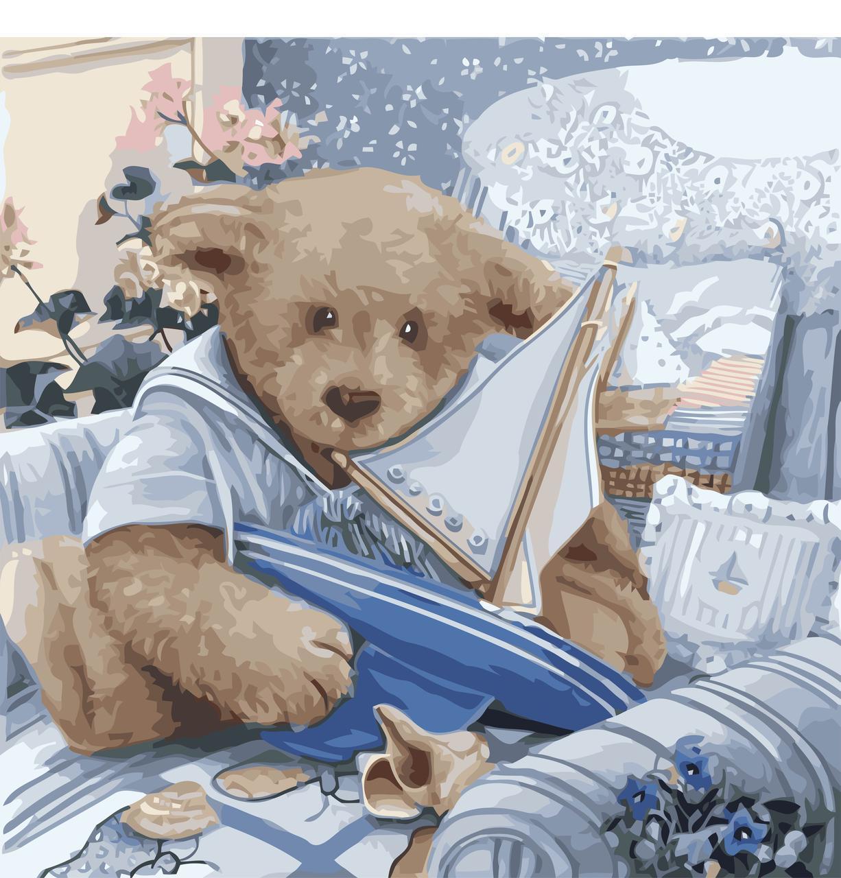 Картина рисование по номерам Идейка Плюшевый юнга 40х40см КНО2311 набор для росписи, краски, кисти, холст