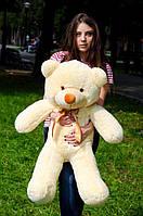 Мишка плюшевый, мягкий медведь 100 см персиковый, подарок для девушки на день рождения