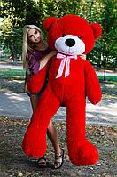 Мишка большой плюшевый 200 см, мягкий медведь, подарок для девушки на день рождения, красный