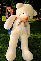 Плюшевый медведь большой 1,8 м, мягкий мишка, подарок для девушки, детям на день рождения, персиковый