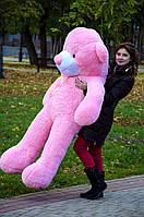 Плюшевый медведь большой 1,8 м, мягкий мишка, подарок для девушки, детям на день рождения, розовый