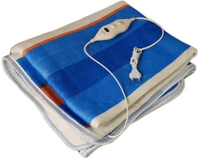Простынь с электроподогревом Electric Blanket 5714 150х160 см, синяя в полоску