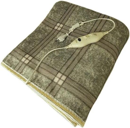 Электропростыня, термопростынь Electric Blanket 7417 150х120 см, серая клетчатая
