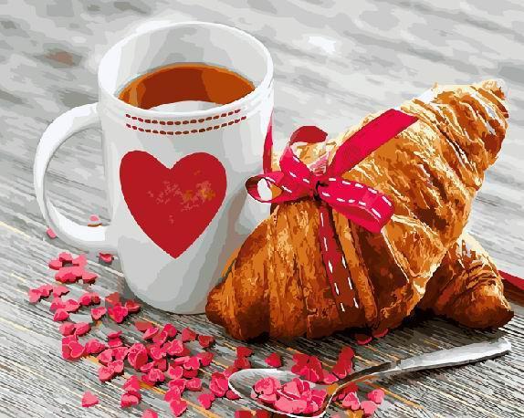 Картина рисование по номерам Завтрак с любовью  GX21709 40х50см набор для росписи, краски, кисти, холст