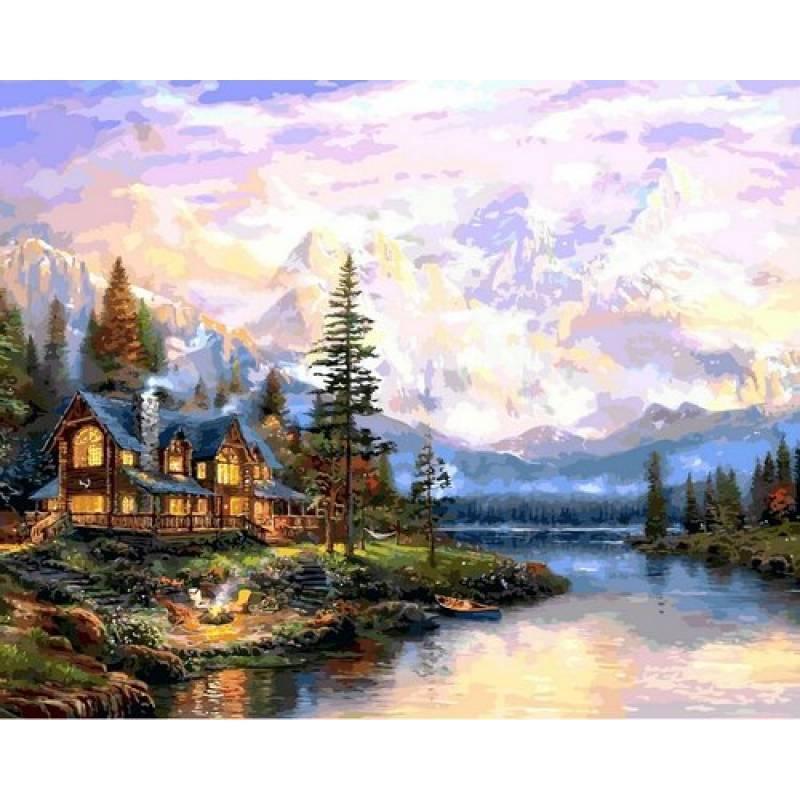 Картина рисование по номерам Babylon Дом в горах 40х50см VP1113 набор для росписи, краски, кисти, холст