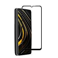 Защитное стекло LUX для Xiaomi Poco M3 Full Сover черный 0,3 мм в упаковке