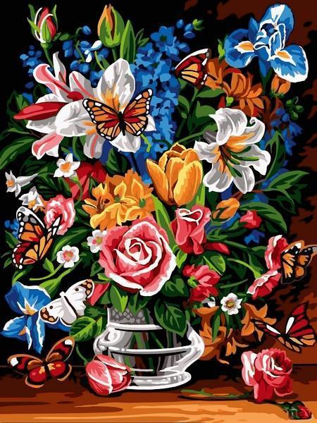 Картина рисование по номерам Babylon Букет и бабочки 30х40см VK248 набор для росписи, краски, кисти, холст