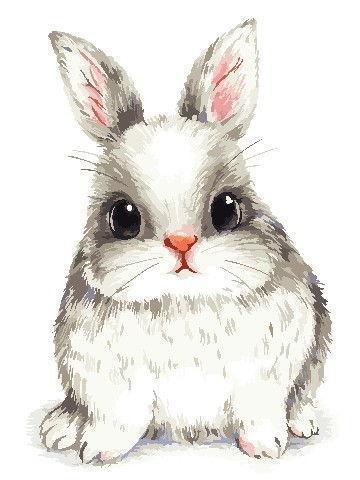 Картина рисование по номерам ArtStory Пушистый кролик 30х40см AS0786 набор для росписи, краски, кисти, холст