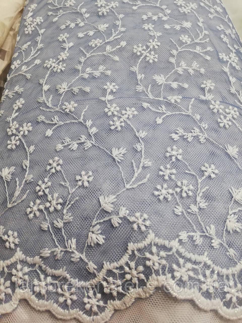 Тюль амбре сетка грек с вышивкой цвет пастельный синий