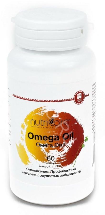 Омега Ойл (Omega Oil) Nutriсare Арго 60 капсул – источник Омега 3 и витамина Е, рыбий жир