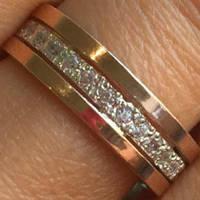 Обручальное кольцо серебряное с золотыми накладками с фианитами ПК-085