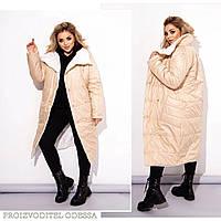Двустороннее женское зимнее пальто,беж+белый 48-50 52-54 56-58 60-62