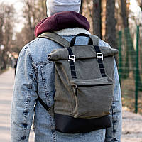 Роллтоп рюкзак мужской FOREST из брезента canvas, фото 1