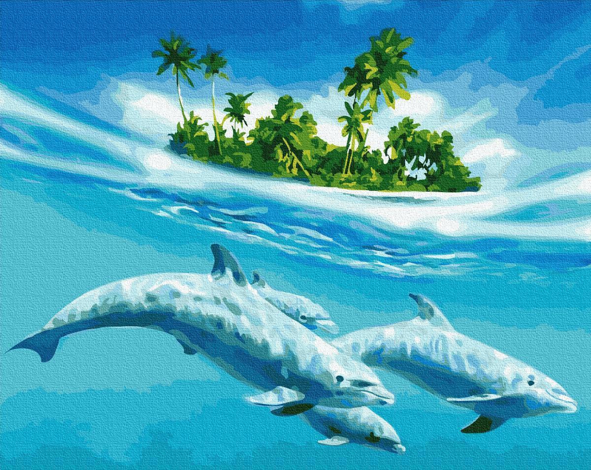 Картина за номерами Плавание с дельфинами GX27574 40х50см набор для росписи Животные