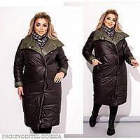 Двустороннее женское зимнее пальто черный/хаки 48-50 52-54 56-58 60-62