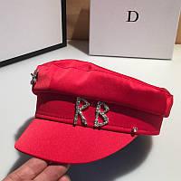 Женский картуз, кепи, фуражка RB атласный с декором красный, фото 1