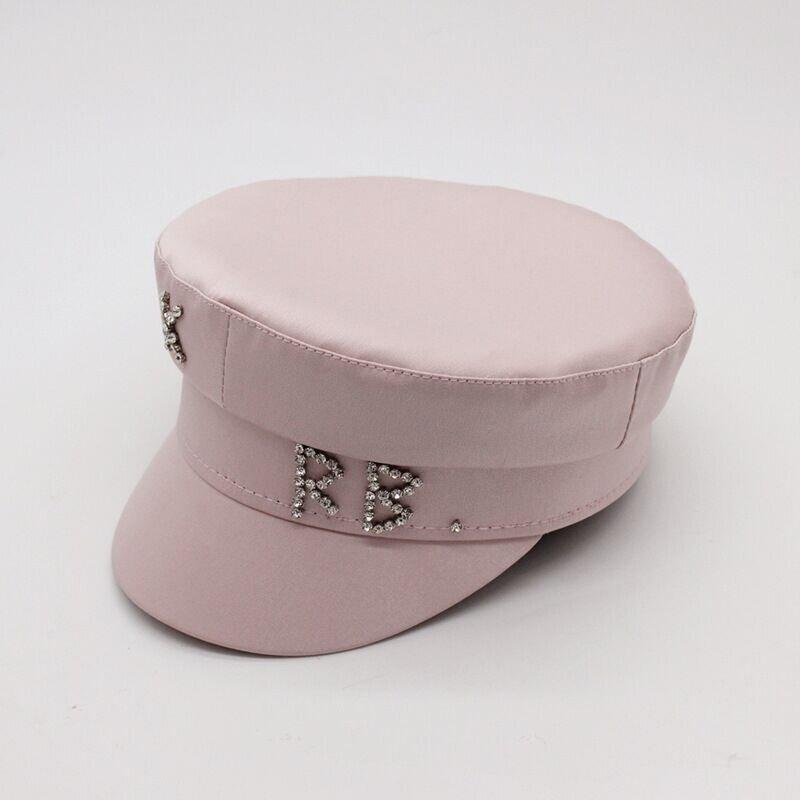 Женский картуз, кепи, фуражка RB атласный с декором розовый (пудра)