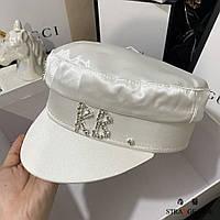 Женский картуз, кепи, фуражка RB атласный с декором белый, фото 1