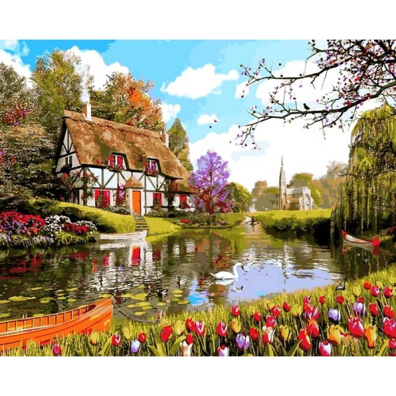 Картина рисование по номерам Mariposa Домик среди тюльпанов 40х50см Q2203 набор для росписи, краски, кисти,