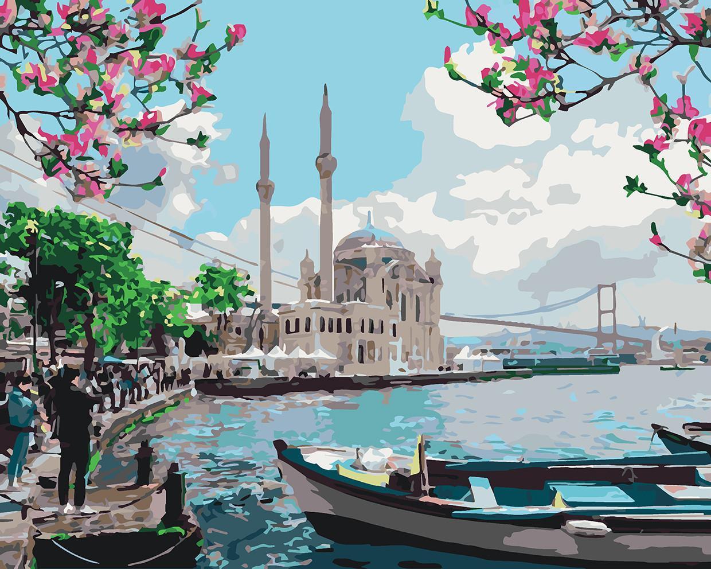 Картина рисование по номерам Идейка Турецкое побережье 40х50см КНО2166 набор для росписи, краски, кисти, холст