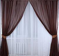 Комплект декоративних штор з шифону (3,5*2,6 м), колір венге 006дк 10-153
