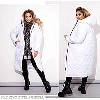 Стеганное женское зимнее пальто 50-52 54-56 58-60