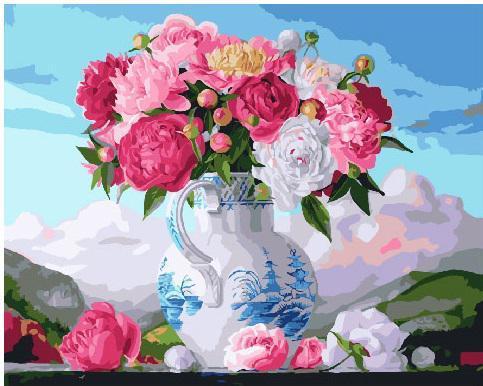 Картина рисование по номерам Букет пионов в вазе GX25496 40х50см набор для росписи, краски, кисти, холст