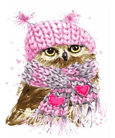 Картина за номерами Совёнок в шарфе GX25212 40х50см набор для росписи Животные