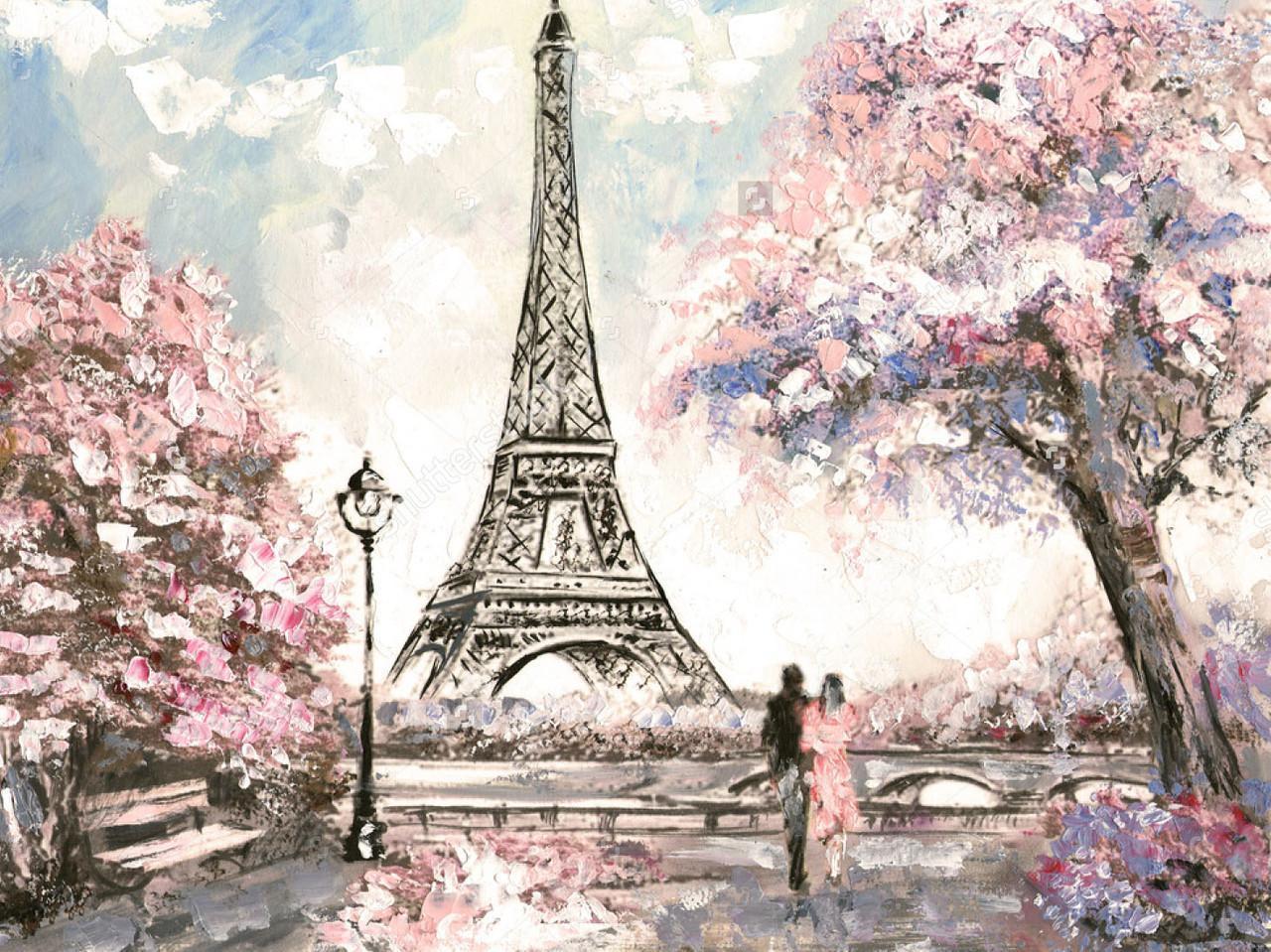 Алмазная мозаика Романтика парижа 40x30см DM-149 Полная зашивка. Набор алмазной вышивки